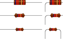 A picture of some resistors showing their different coloured bands