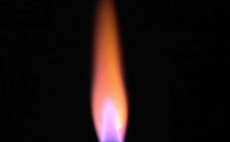 A Bunsen burner showing the emission spectra of lithium