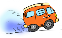 An artist's impression of an accelerating vehicle