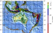 A map of the ring of fire earthquake region around Australia