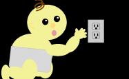 Cartoon of a baby near a power point