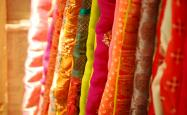 A row of different types of fabric
