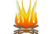 An artist's impression of a campfire