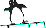 Cartoon of a penguin on an ice floe