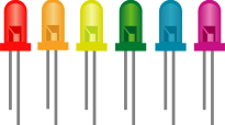 A series of different coloured Light Emitting Diodes