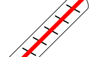 A thermometer showing a high temperature
