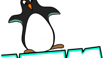 Artist's impression of a penguin on an ice floe